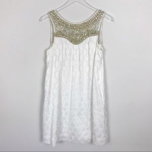 Anthropologie Maeve White Swing Dress Embellished